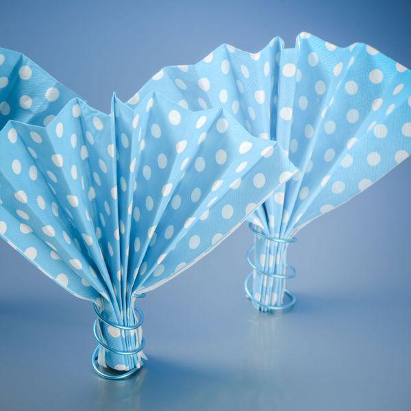 Servietten weiße Punkte, blau-türkis