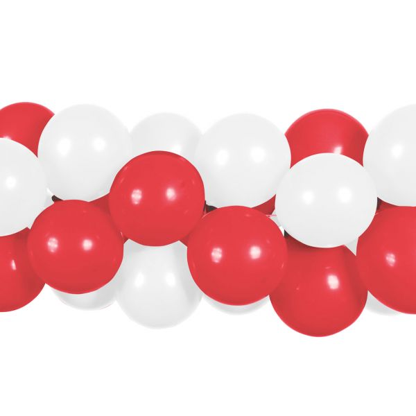 Luftballon Girlande 80 Stück, rot-weiß
