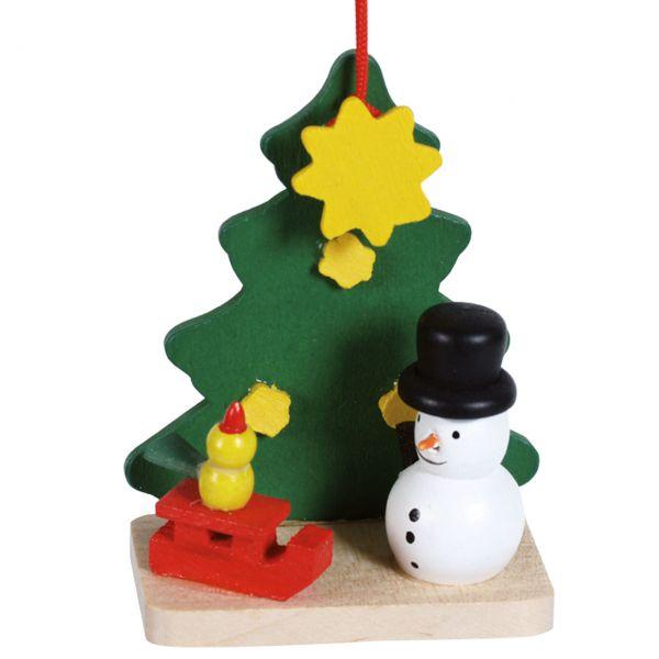 Anhänger Tannenbaum mit Schneemann, Holz farbig