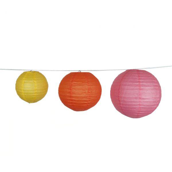 Deko-Lampions, gelb-orange-pink