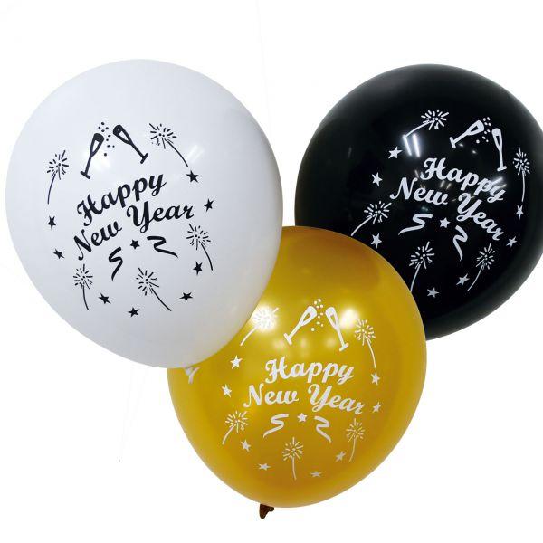 Luftballons Happy New Year, schwarz-weiß-gold