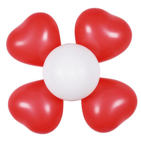 Luftballon-Dekoset 2 Blumen, rot-weiß