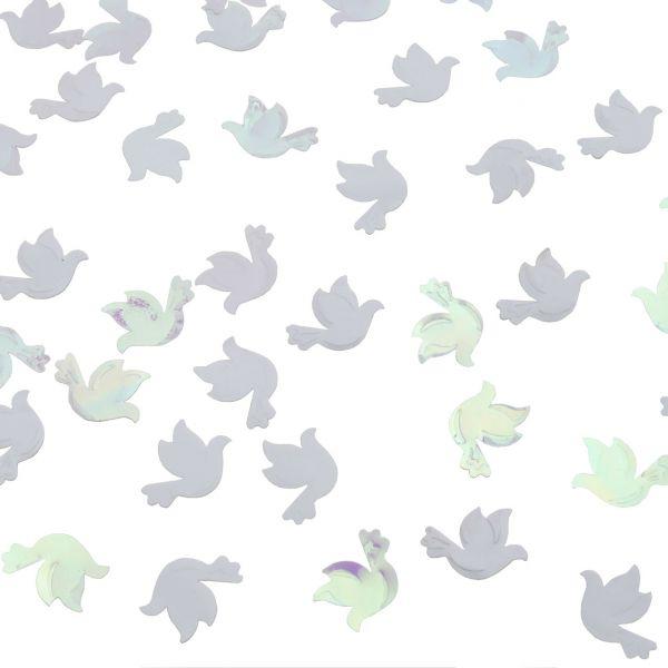 Streudeko Tauben, weiß-glänzend