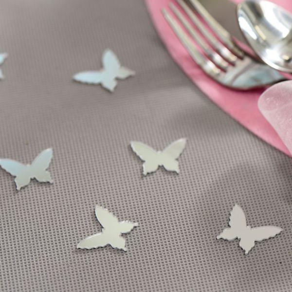 Streudeko Schmetterlinge verspiegelt, silber