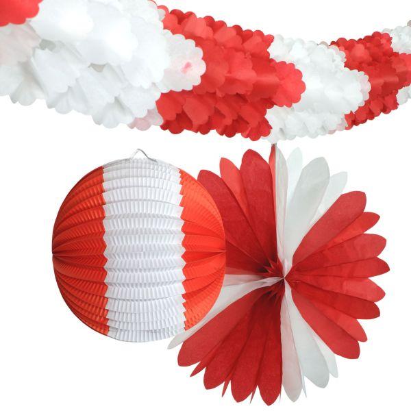 Deko-Set Nationen, rot-weiß