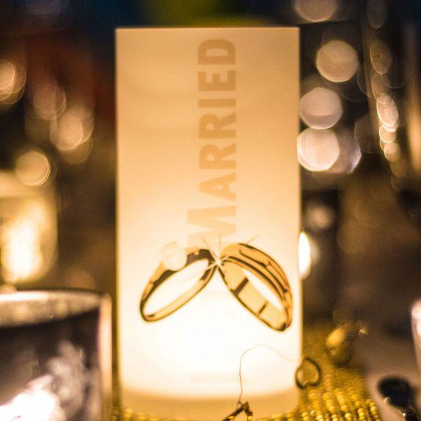 Windlicht Just Married Ringe, sanddunkel