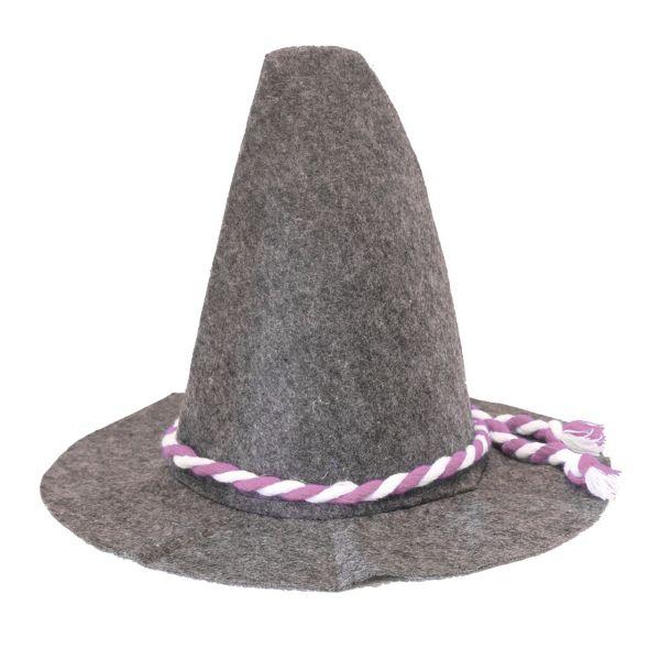 Filzhut für Oktoberfest, grau-weiß-rosa