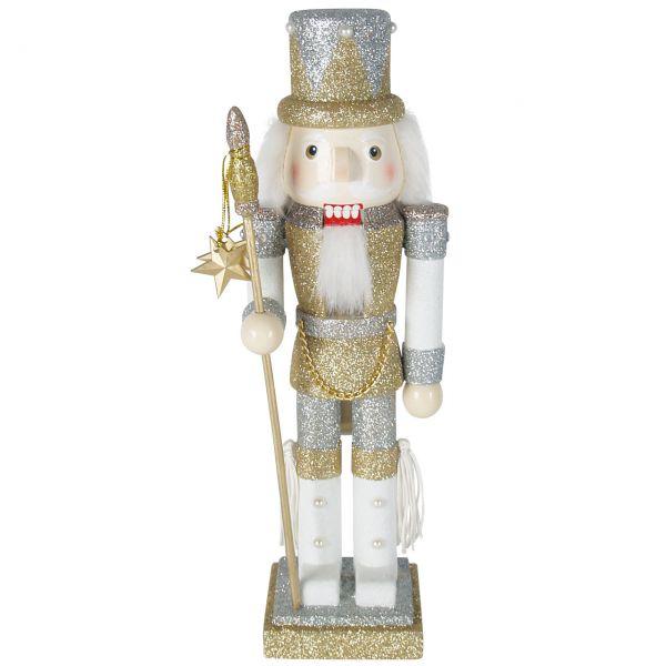 Nussknacker Soldat 30cm, gold-silber mit Glitter