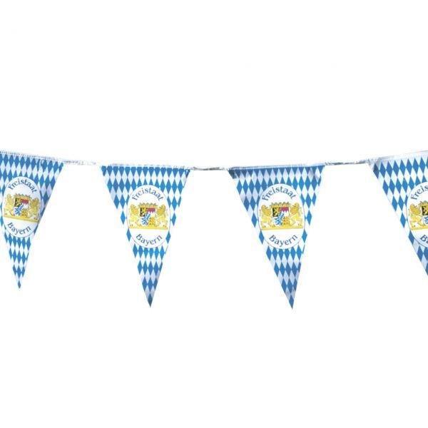Maxi Wimpelkette Bayern wetterfest 10m, weiß-blau