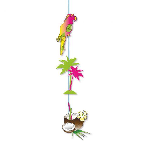 Hänge-Girlande Karibik Papagei, Palme, Kokosnuss, bunt