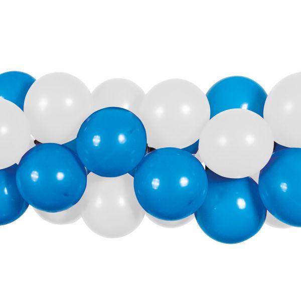 Luftballon Girlande 80 Stück, blau-weiß