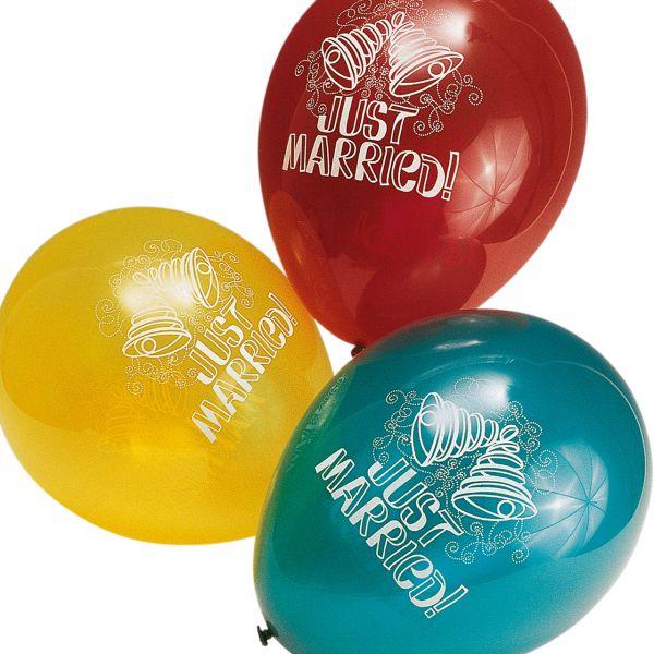 Luftballons Just Married kristall, bunte Mischung