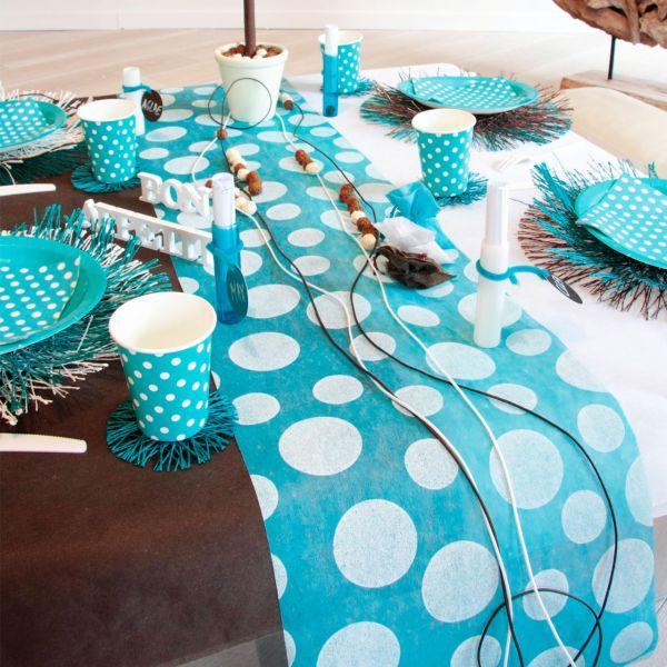 Tischläufer weiße Punkte, B: 30cm, blau-türkis