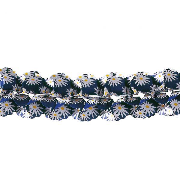 Girlande eckig Margerite, blau-weiß