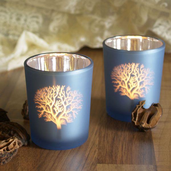 Teelichtgläser Bäume, blau-silber