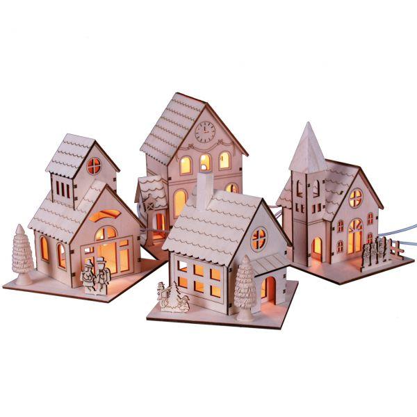 Häuser 4 Stück einzeln, elektr. Beleuchtung